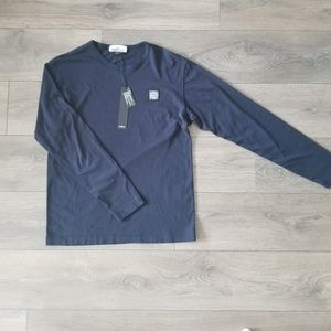 Stone Island Long Sleeve Shirt w Patch Navy M